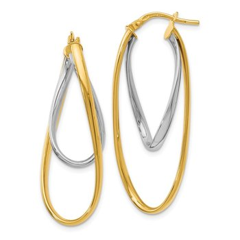 Leslie's 14K Two-Tone Polished Hoop Earrings