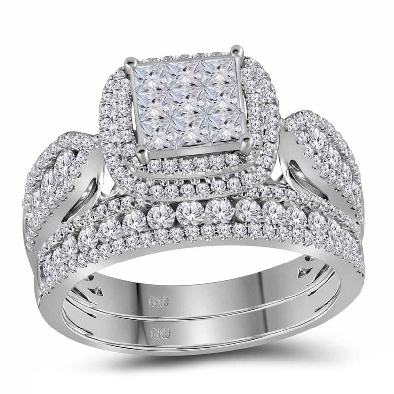 Gold-N-Diamonds, Inc. (Atlanta) 14kt White Gold Womens Princess Diamond Bridal Wedding Engagement Ring Band Set 1-1/2 Cttw