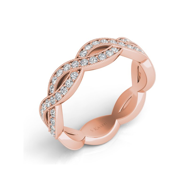 S. Kashi & Sons Bridal Rose Gold Pave Wedding Band