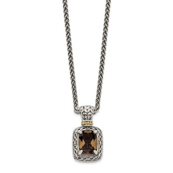 Sterling Silver w/14k Antiqued Smoky Quartz Necklace