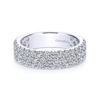 14k White Gold 3 Row Shared Prong Diamond Anniversary Band