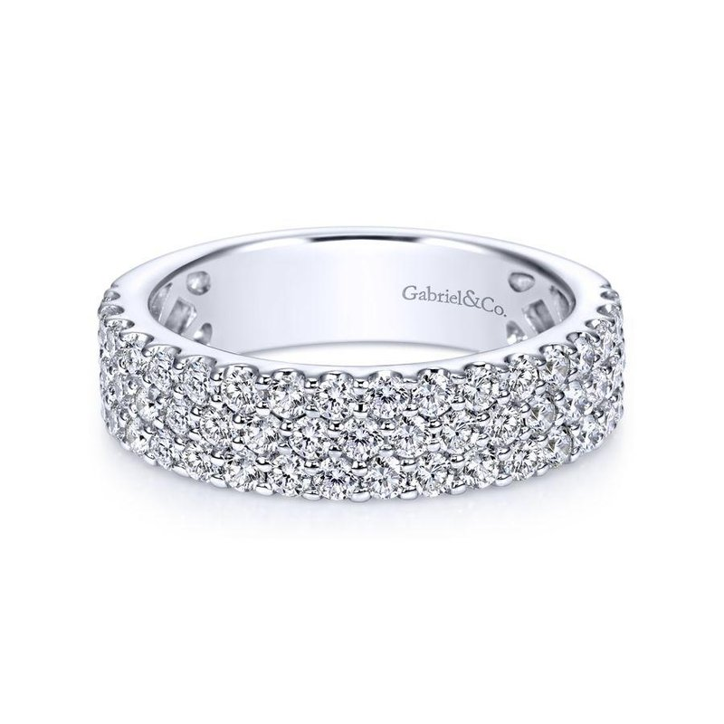 Gabriel  14k White Gold 3 Row Shared Prong Diamond Anniversary Band