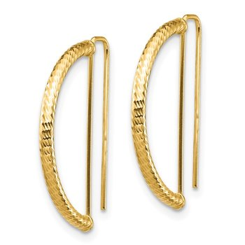 14K Half Circle Diamond-Cut Earrings