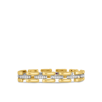18KT GOLD SLIM RETRO LINK BRACELET WITH DIAMONDS
