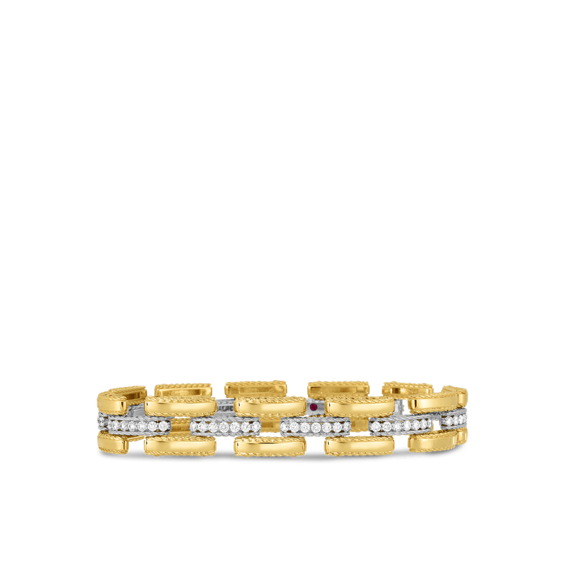 Roberto Coin 18Kt Gold Slim Retro Link Bracelet With Diamonds