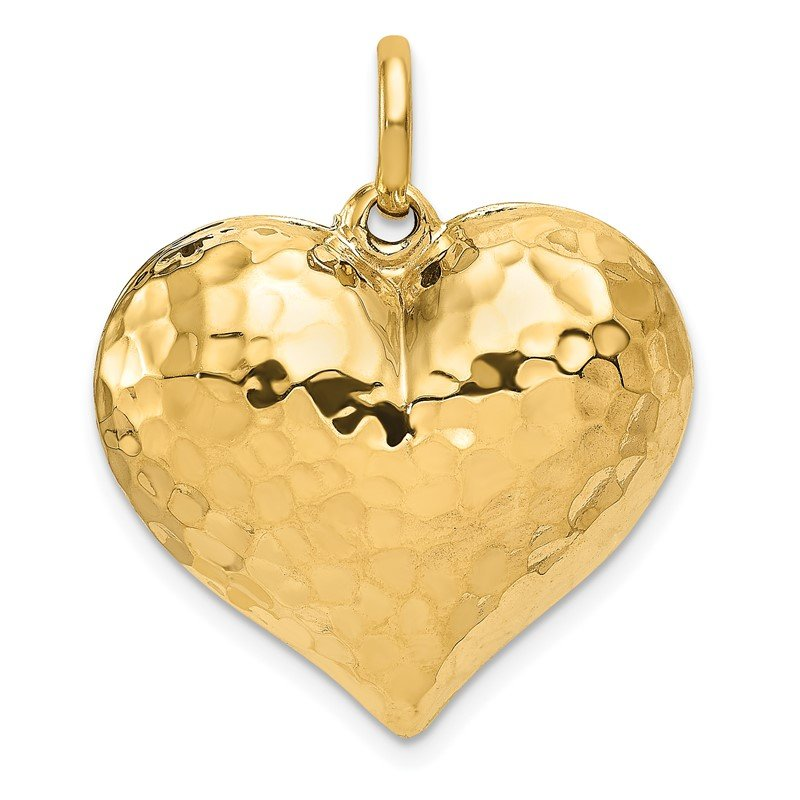 Quality Gold 14K Polished and Hammered 3-D Heart Pendant