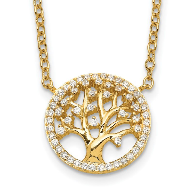 Quality Gold Sterling Silver Polished Gold-plated Tree with CZ Necklace
