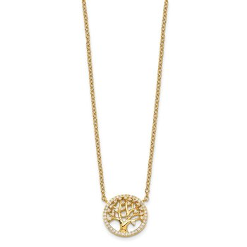 Sterling Silver Polished Gold-plated Tree with CZ Necklace