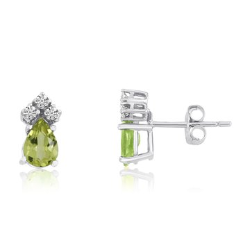 14k White Gold Peridot Pear Earrings with Diamonds