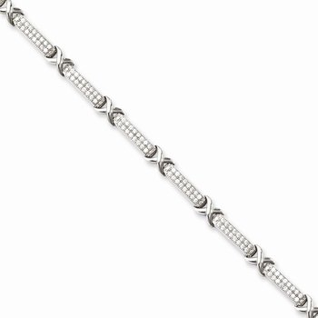 SS Rhodium-Plated CZ Brilliant Embers Bracelet