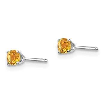 14k White Gold 3mm Citrine Stud Earrings