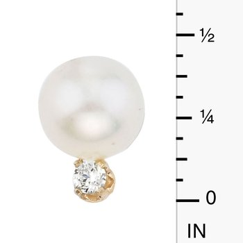 14kt Yellow Gold 7 mm Freshwater Cultured Pearl and Diamond Stud Earring (.10 carat)