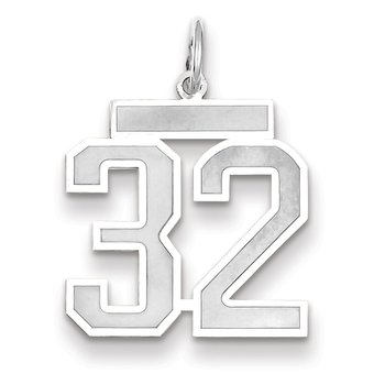 14k WG Medium Satin Number 32 Charm