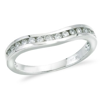 14K White Gold .25 ct Diamond Wave Band Ring