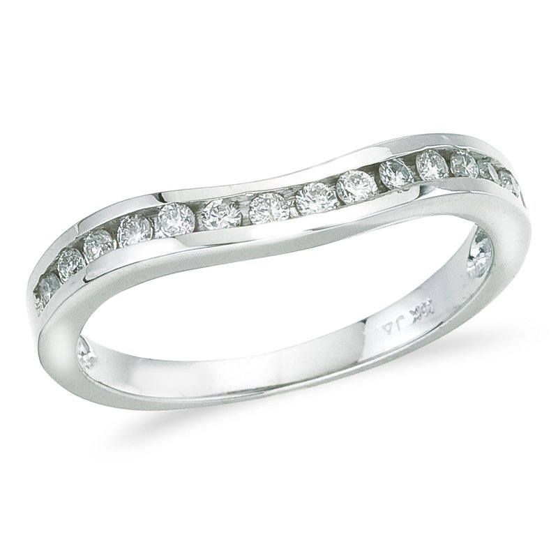 Color Merchants 14K White Gold .25 ct Diamond Wave Band Ring