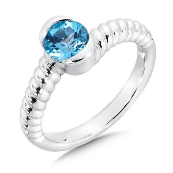 Sterling Silver Swiss Blue Topaz Colore Of Life Stack Ring