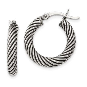 Sterling Silver Antiqued 3.25x20mm Twisted Hoop Earrings