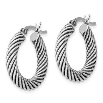 Sterling Silver Antiqued 3.25x20mm Twist Hoop Earrings