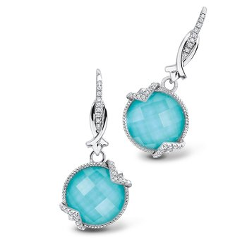 Sterling silver, turquoise fusion and diamond earrings