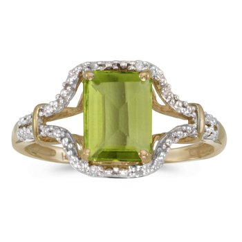 10k Yellow Gold Emerald-cut Peridot And Diamond Ring