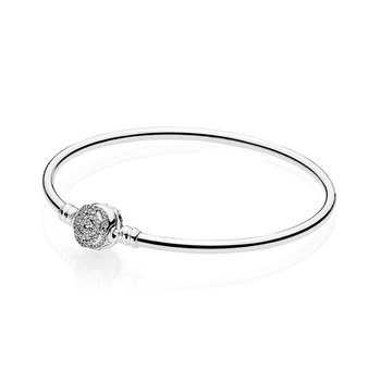 Disney, Beauty The Beast Bangle Bracelet, Clear Cz