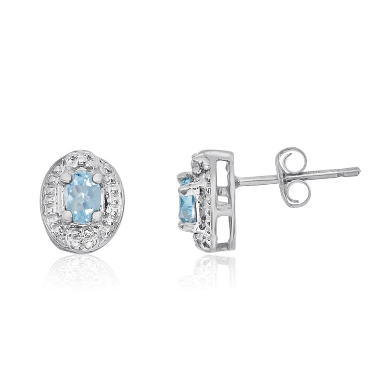 14k White Gold Aquamarine Earrings with Diamonds