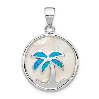 Sterling Silver Rhod-plated MOP /Created Opal Palm Tree Pendant