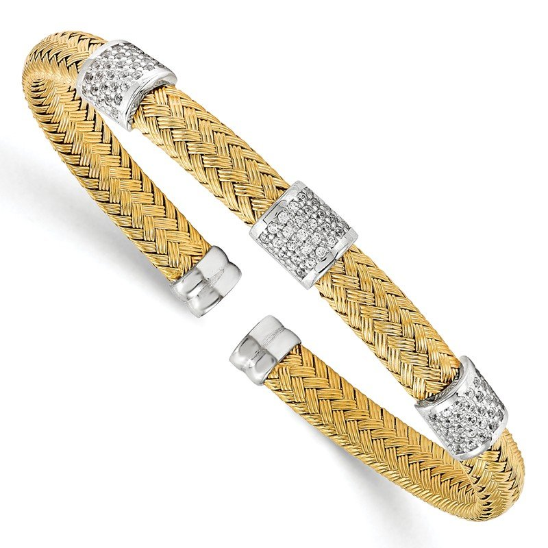 Leslie's Leslie's Sterling Silver Yellow Rhodium CZ Woven Flexible Cuff