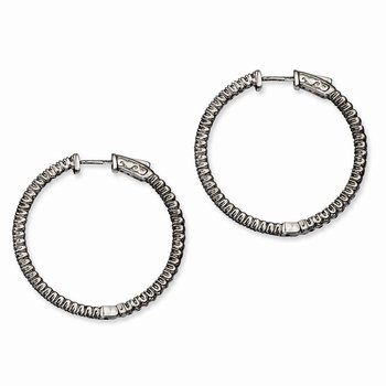 Sterling Silver Ruthenium-plated In and Out CZ Round Hoop Earrings