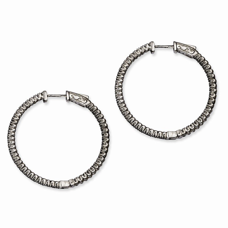 Quality Gold Sterling Silver Ruthenium-plated In and Out CZ Round Hoop Earrings