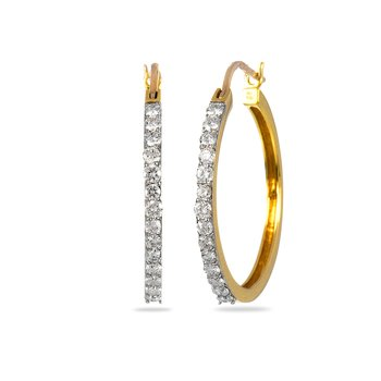 14K YG Diamond Hoop Ear Rings V Lock