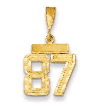 14k Small Diamond-cut Number 87 Charm