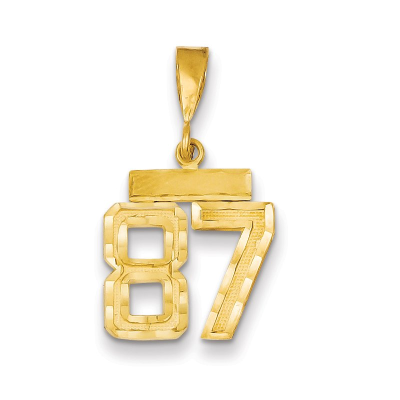 Quality Gold 14k Small Diamond-cut Number 87 Charm
