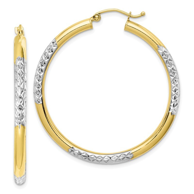 Quality Gold 10K & Rhodium Diamond Cut 3mm Hoop Earrings