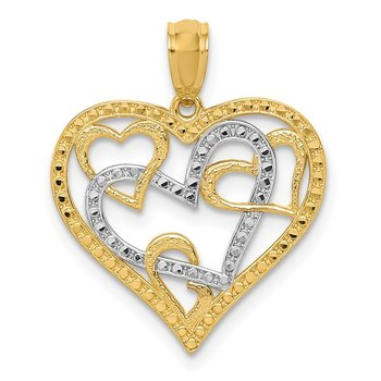 14K and White Rhodium Polished Beaded Hearts in Heart Pendant