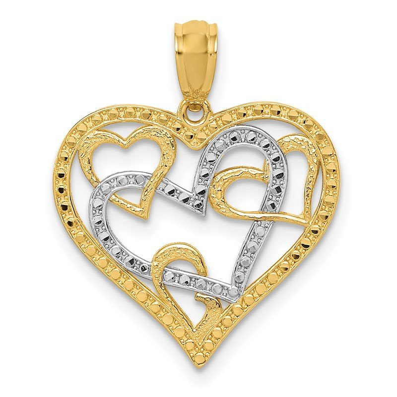Quality Gold 14K and White Rhodium Polished Beaded Hearts in Heart Pendant