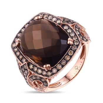 Large Cushion Smokey Topaz and Chocolate Diamond Ring