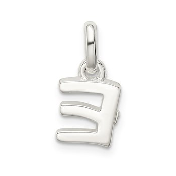 Sterling Silver Letter E with Enamel Pendant