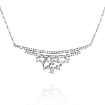 Diamond Mosaic Curve Necklace Set in 14 Kt. Gold