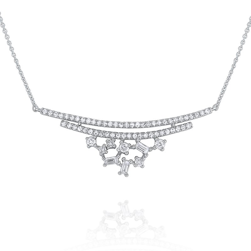 KC Designs Diamond Mosaic Curve Necklace Set in 14 Kt. Gold
