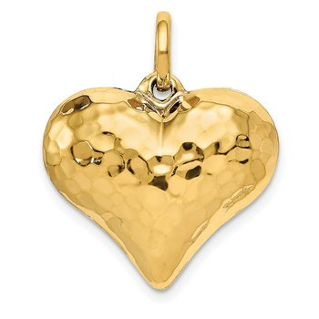 14K Polished and Hammered 3-D Heart Pendant