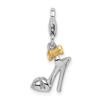 Sterling Silver Rhodium/Gold-plated High Heel w/Lobster Clasp Charm