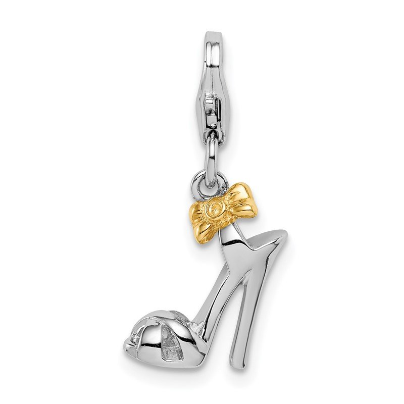 Quality Gold Sterling Silver Rhodium/Gold-plated High Heel w/Lobster Clasp Charm