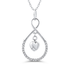 Essentials 10K White Gold 1/5 Ct Diamond Heart Pendant with Chain