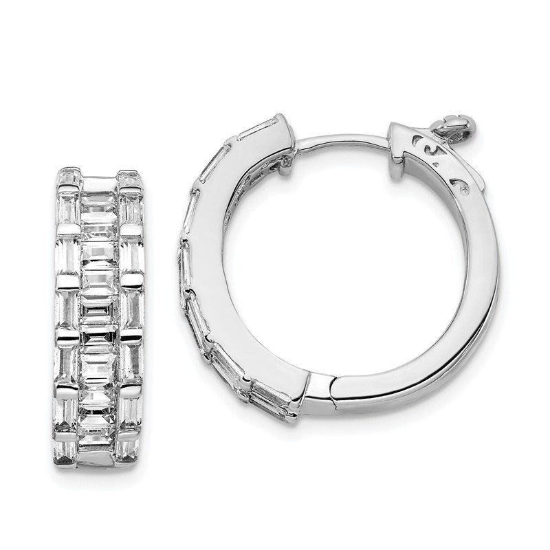 J.F. Kruse Signature Collection Sterling Silver CZ Round Hoop Earrings