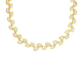 18K GOLD & DIAMOND NEW BAROCCO LAUREL LEAF NECKLACE