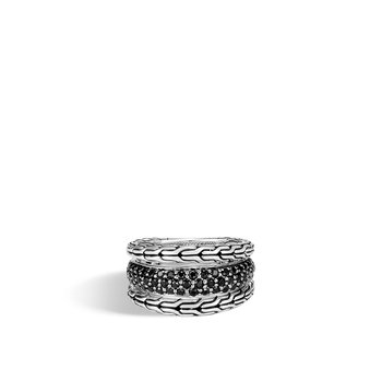 Classic Chain Ring in Silver with Gemstone