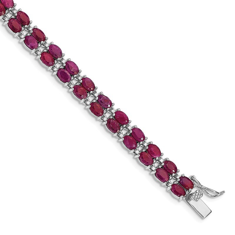 Quality Gold Sterling Silver Rhodium-plated Ruby Bracelet