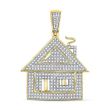 10kt Yellow Gold Mens Round Diamond Trap House Charm Pendant 3/4 Cttw