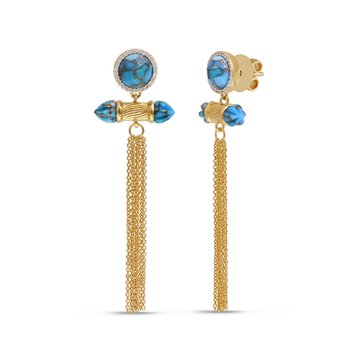 LuvMyJewelry Sunkissed Turquoise & Diamond Chandelier Earrings in Sterling Silver & 14 KT Yellow Gold Plating